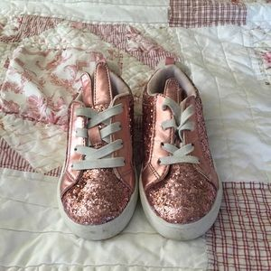 Toddler girl pink glitter bunny sneakers